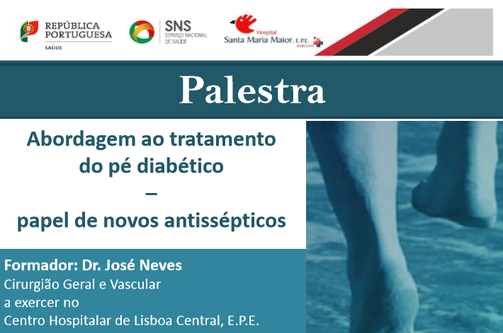 """imagem do post do Palestra """"Abordagem ao tratamento do pé diabético – papel de novos antissépticos"""""""