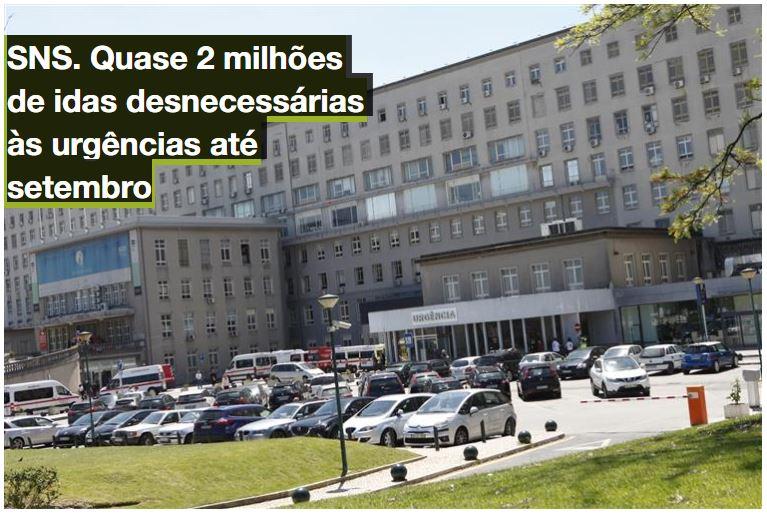imagem do post do SNS. Quase 2 milhões de idas desnecessárias às urgências até setembro